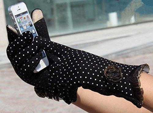 JQAM Donna autunno inverno carino in maglia di cotone Coldproof caldo Touchscreen guanti Leisure Guida (Scopo Esterno Raso)