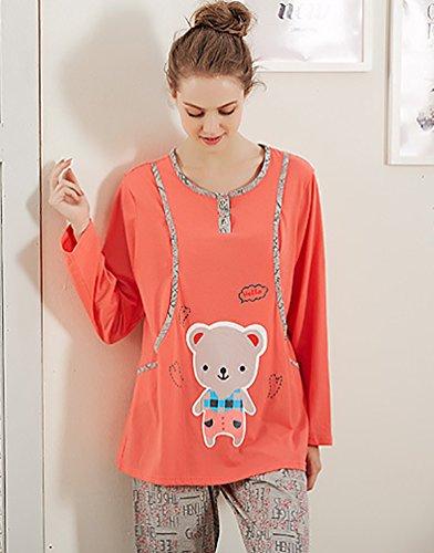 YouPue Frauen Stillen Nursing Pyjamas Stillpyjama Schlafanzug Nachtwäsche Pyjama Homewear Hausanzug Niedlich Drucken Rot