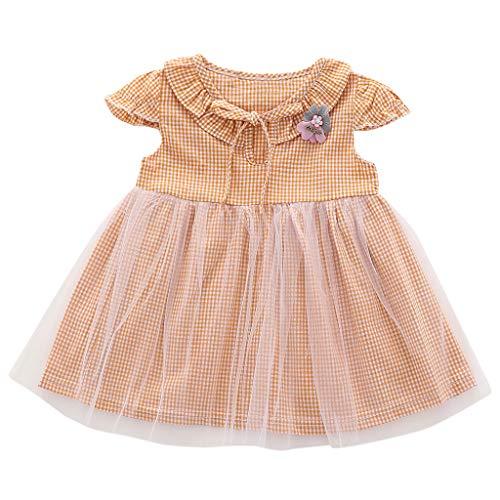 LEXUPE Säuglingsbaby-Fliegen-Hülsen-Plaid-Druck-Blumen-Bogen Tulle Prinzessin Dress(Gelb,70/6/S)