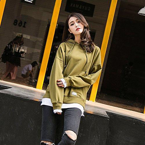 Xing Lin Pullover Con Cappuccio Anche Hat Shirt Due Maglione Marea Femmina Studenti Allentata Lunga). Olive Green