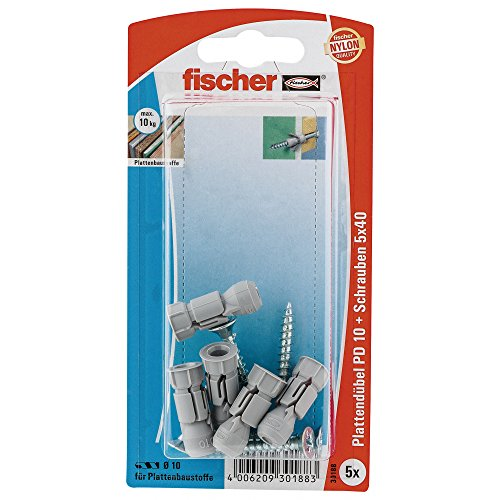 fischer-30188-pd-10-s-board-fixing-with-chipboard-screw-multi-colour-5-piece