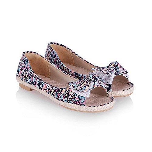 Farbe Voguezone009 Niedriger Weiches Material Damen Ziehen Gemischte Sandalen Absatz Schwarz Auf qWUW6RnZ