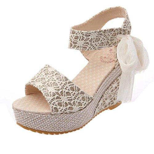 Uomogo® donna sandali estivi elegante ragazze casuale estate sandali piatti in pelle scarpe da con taccco alto basse aperte peep toe sandali 10.5 cm (asia 36, bianca)