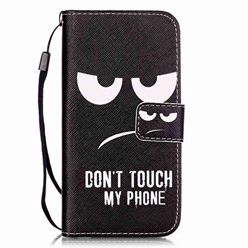 iPhone 7 Hülle,iPhone 7 Ledertasche Handyhülle Brieftasche im BookStyle,SainCat PU Leder Hülle Wallet Case Folio Schutzhülle Karikatur Muster [Scharfschütze-Don't Touch My Phone] Lederhülle Scratch Bu Schwarze Augen-Don't Touch My Phone