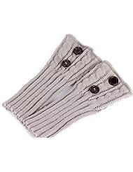 Pixnor Tejer Calcetines Calentadores de la pierna cubierta de arranque Calcetines calientes Gris claro