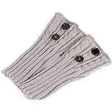 PIXNOR Puños de pata arranque tejer calcetines calentadores arranque cubierta mantenga caliente calcetines (gris claro)