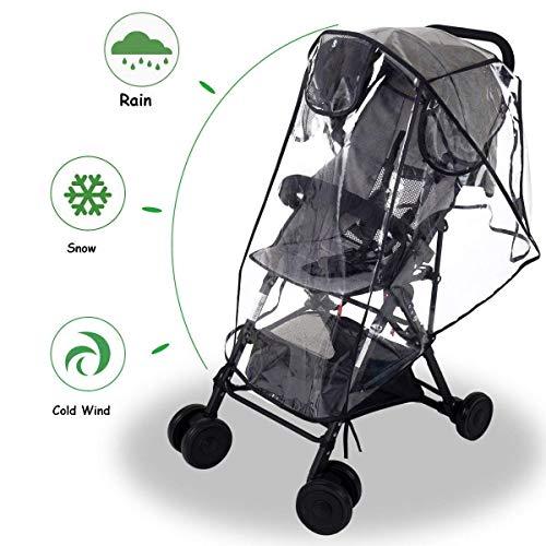 Wemk Kinderwagen Regenschutz, EVA Regenschutz mit 3 Lüftung Fenster, Gute Luftzirkulation, Schadstofffrei - Größe L