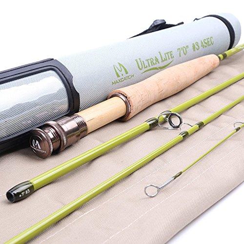 Maxcatch Ultra-lite Fliegenrute für Streams Panfish/Forellen angeln 1/2/3 Gewicht (3-weight 7ft 4-Piece)