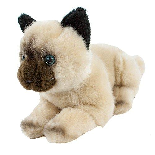 Kuscheltier Katze Tamtam, 30 cm, liegend, Perserkatze, Siamkatze, Plüschtier (Ohren Braune Katze)