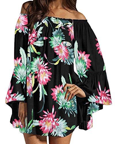 ZANZEA Damen Schulterfrei Chiffon Langarm Kleid Blumen Lose Oberteil Mini Kleider 04-schwarz Large Chiffon Sommer Kleider