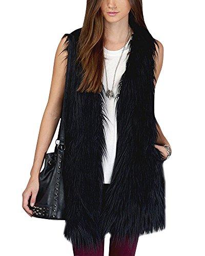 Outwear donne senza maniche gilet sintetica del cappotto del rivestimento nero xs