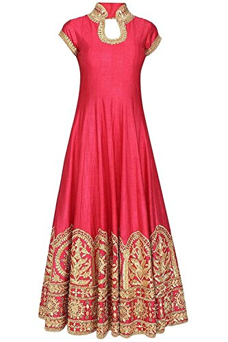 SRP ENTERPRISE Rose pink gota patti embroidered anarkali set For Women And Girls