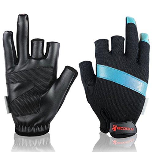 Andux 1 Paar Fanghandschuhe Sonnenschutz Absorption von Schweiß Schnell trocknend DREI Fingerlose Handschuhe Segelboot Drachenboot Handschuhe F-DYST01 (Blau, M)