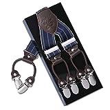 Herren Hosenträger KANGDAI 6 Clips Heavy Duty Men Braces Y Zurück 10 Farben Durable Elastic Verstellbare Hosenträger Starke Metall Clips (raya azul)