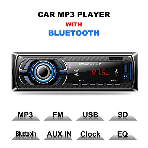 LIGHTOP Bluetooth Autoradio Auto FM MP3-Player Freisprecheinrichtung mit Fernbedienung und ISO-Kabel 1 Din USB/SD/Aux Anschluss 4x60W Autoradi