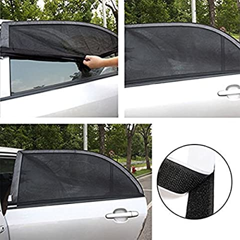 XFAY Universal Car Sun Shade Cover for Car Side Window - Provide UV Protection Fresh Air Flow for Baby, Children, Kids and Pets - High Quality Black Nylon Mesh Material -M code 2