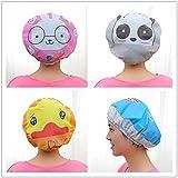 Dibujos animados impermeable gorro de ducha gorro de baño elástico para adultos y niños (Pack de 4) pato, conejo, elefante, oso panda