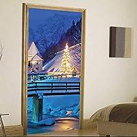 HhGold Adornos de Puerta de Paisaje de Puente de Navidad Adhesivos de Pared de decoración de hogar Adhesivos Removibles (Color : -, tamaño : -)