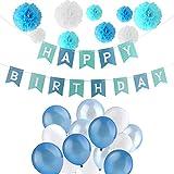 Jingxu Geburtstag Dekoration Set,HAPPY BIRTHDAY Wimpelkette Banner Girlande mit Perle Latex Luftballonsund Wabenbälle Papier für Mädchen und Jungen Jeden Alters für Kinder geburtstag Party Deko - Blau
