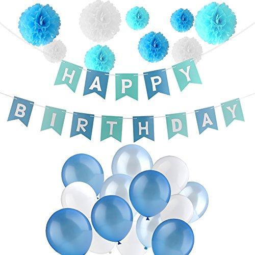 Jingxu Geburtstag Dekoration Set,HAPPY BIRTHDAY Wimpelkette Banner Girlande mit Perle Latex Luftballonsund Wabenbälle Papier für Mädchen und Jungen Jeden Alters für Kinder geburtstag Party Deko - - Mädchen Aufgeblasen