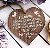 I'm Lucky My Friend Is You Wooden Hanging Heart Friendship Gift Best Friends Plaque