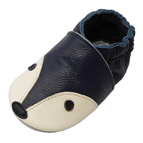 YIHAKIDS Premium Weiche Leder Krabbelschuhe Babyschuhe Kleinkind Lauflernschuhe(Navy blau,18-24 Monate)