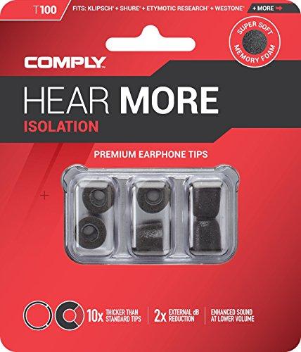Comply Memory Schaum T-100 Ersatz Kopfhörer Ohrstöpsel schwarz Medium 3 Paar - 6