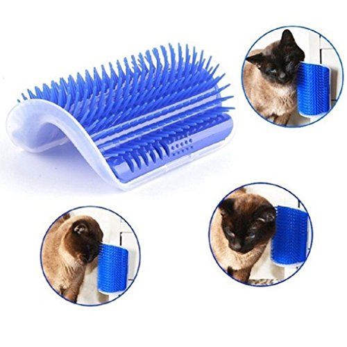 Yogogo Schöne Haustier Katze Selbst Groomer Wand Ecke , Massage Kamm Katze Kätzchen Grooming Brush , Kunststoff , Blau , 13x9x5.5CM (Blau)