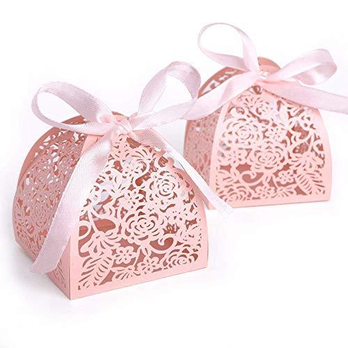 aserschnitt Rose Blume und Rebe Süße Geschenkboxen mit Ribbon für Konfetti, Süßigkeiten, Schokolade, Bonbons für Hochzeit Baby-Duschen/Verlobung/Geburtstag ()