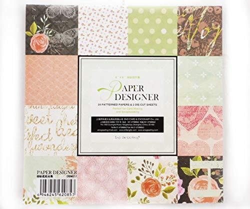 Scrapbook Design Papier-Pack 12-Designs, 24 Blatt 2 die-Cut-Bogen Einseitig Karte Machen Scrapbooking Paperpad 15cm x 15cm DSM017 -