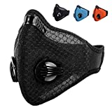 Fodlon Staubmaske Atemschutzmaske Verschluß Ventil Feinstaubmaske Fitnessmaske PM2.5 für Radfahren Motorrad Ski (Schwarz)