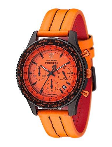 DETOMASO Firenze Herren-Armbanduhr Chronograph Analog Quarz Schwarzes Edelstahlgehäuse Oranges Zifferblatt - Jetzt mit 5 Jahre Herstellergarantie (Leder - Orange (Naht: Schwarz))