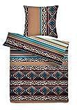 Carpe Sonno kuschelig Bunte Biber-Bettwäsche 240 x 220 cm mit Orient-Muster - Paar-Bettwäsche aus 100% Baumwolle Flanell - edles Bettwäsche Set 3-TLG mit 2 Kopfkissenbezügen