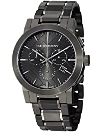 amazon co uk burberry watches burberry bu9354 42mm grey steel bracelet case anti reflective sapphire men s