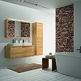 ALLIBERT Badmöbel-Set Badmöbel vormontiert Softclose-Funktion Eiche Hell Doppelwaschtisch 120 cm