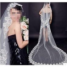 EQLEF® blanca elegante del cordón del velo del tocado de las mujeres Señora Mantilla accesorios nupciales del velo de novia (velo 260cm)