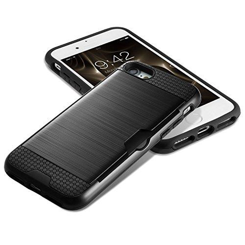 Apple iPhone 8 Hülle, CS Dünnes Gebürstetes Metallisches Aussehen, Zwei Schichte, Schutzhülle Mit Kartensteckplätzen für iphone 7/8 4.7 Zoll Schwarz Schwarz shinning