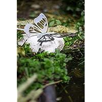 Gartenfigur Schmetterling auf Naturstein Edelstahl Gartendeko Gartendekoration