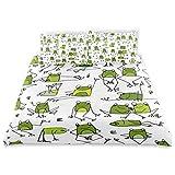 SUNOP Bettwäsche-Set für Doppelbett, 100% gebürstete Baumwolle, Biber, Bettbezug und 2 Kissenbezüge, Frosch