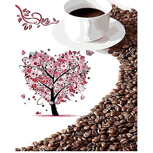 Hyllbb Tasty Coffee Eine Tasse Kaffee Ölgemälde Bild Von Nummer Digital Pictures Blume Rose Coloring Unique Gift Home Decoration-40 * 50Cm,With Frame (Tasse Blaue Eule Kaffee)