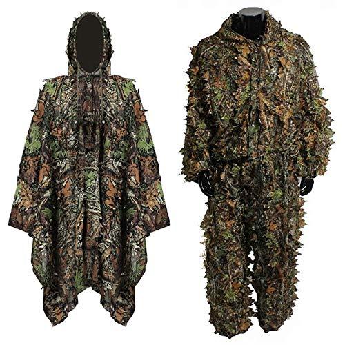 Shun-hunting, lsb-caccia, abiti da caccia 3d unisex camo leaf ghillie suits sniper birdwatch tattico airsoft woodland camouflage abbigliamento giacca e pantaloni per uomo donna (color : 02)