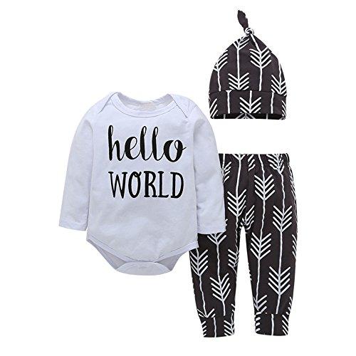 Diath Bekleidung 3 StüCk Kleinkind Overalls FüR Baby, Cartoon Brief Drucken T-Shirt Tops + Hosen+ Hut Ausstattungs Kleidung ()