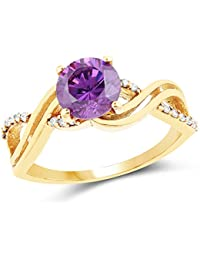 Johareez Gold Plated Fashion Statement Amethyst Solitaire Cubic Zirconia Ring For Women