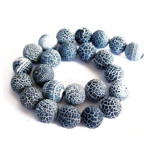 Fil De 42+ Gris Agate Givré Craquelée 8mm Rond Perles GS16124-2 (Charming Beads)