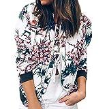 Damen Retro Floral Reißverschluss Bomber Kurze Jacke Casual Mantel Outwear