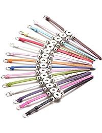 Soleebee 15pcs Multicolore réglable en Alliage de Perles en Cuir Bracelet Pression Boutons Bracelet Convient pour 18mm Pression Boutons