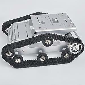 KOOKYE Robot Car Smart Tank Chassis Piattaforma robotica Acciaio inossidabile 2DW Motore 9V per Arduino / Raspberry Pi DIY (TR300)