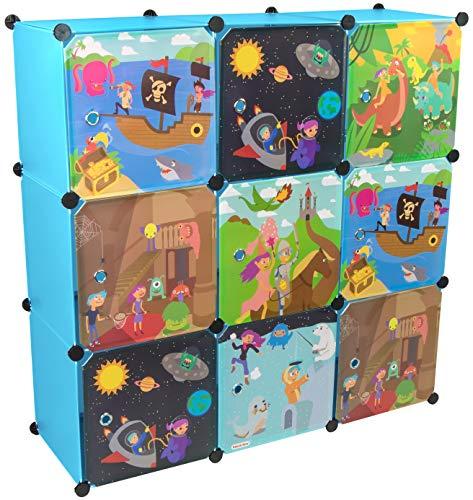 KEKSKRONE Großer Kinderschrank Bunte Motiv-Türen - DIY Stecksystem - 9 Module je 37 x 37 x 37 cm, Blau | Kinderzimmer-Schrank | Kinderkleiderschrank | Baby-Regal | Spielzeugkommode -