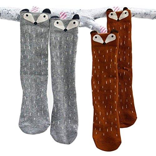 Nanxson (TM) 2 Paar Baby Mädchen Junge Baumwolle Knielang Casual Socken Süß Fuchs Design Strumpf WZETWE0005