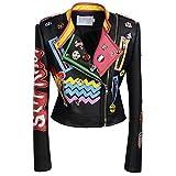 Biddtle Chaqueta para Mujer Chaquetas Cuero Moto Cazadoras Chaqueta De Motorista Entallada Tachuelas Solapa Impresión Colorida Cremallera Abrigo,2XL